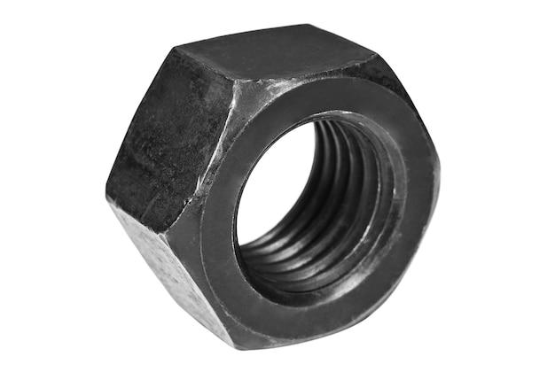 Zwarte screwnut geïsoleerd op een witte achtergrond close-up