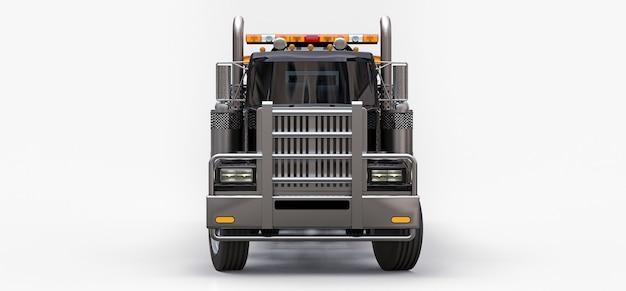 Zwarte sleepwagen om andere grote vrachtwagens of verschillende zware machines te vervoeren. 3d-weergave.