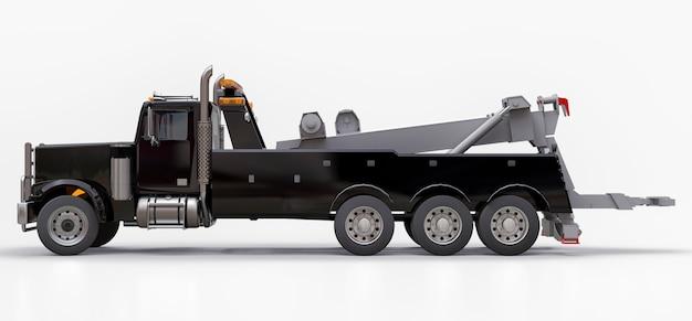 Zwarte sleepwagen voor het vervoer van andere grote vrachtwagens of diverse zware machines. 3d-weergave
