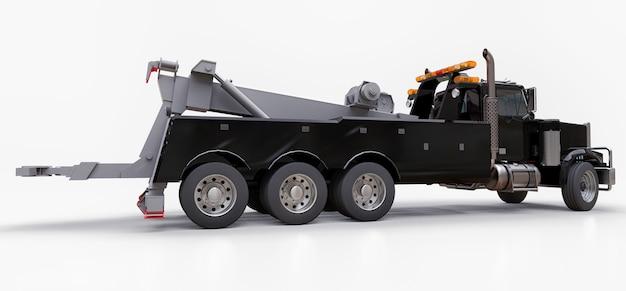 Zwarte sleepwagen voor het vervoer van andere grote vrachtwagens of diverse zware machines