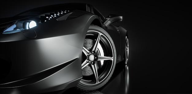 Zwarte sportwagen. 3d render. illustratie.
