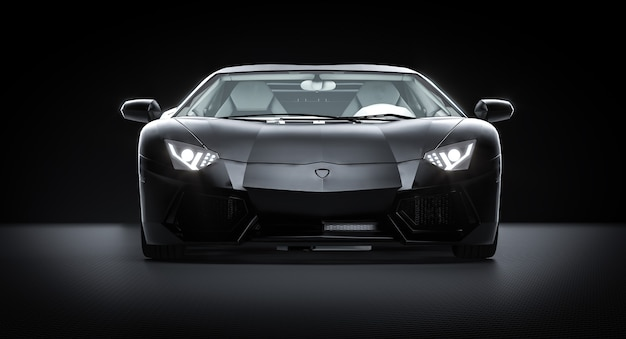 Zwarte sportwagen op koolstofvezelachtergrond. 3d render.