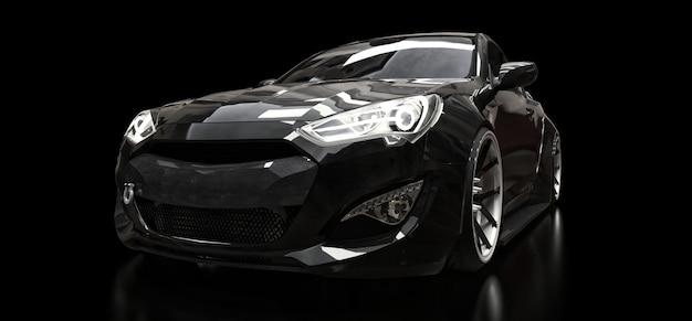 Zwarte sportwagencoupé op een zwarte achtergrond. 3d-weergave