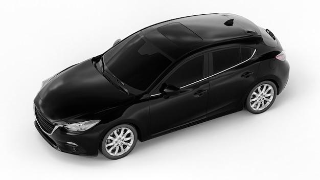 Zwarte stadsauto met blanco oppervlak voor uw creatieve ontwerp. 3d-weergave.