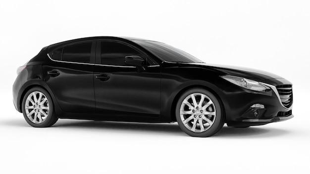 Zwarte stadsauto met leeg oppervlak voor uw creatieve ontwerp 3d-rendering