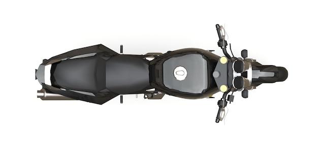Zwarte stedelijke sport tweezitter motorfiets op een witte achtergrond. 3d-afbeelding.