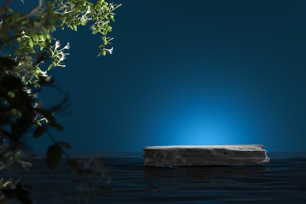 Zwarte stenen plaat op water en markeer op blauwe achtergrond. vervagen planten voorgrond. abstracte achtergrond voor productpresentatie of advertenties. 3d-rendering