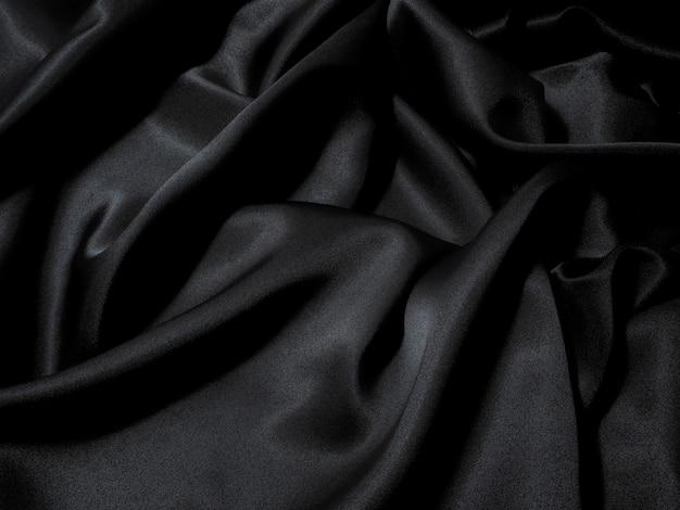 Zwarte stof textuur achtergrond, golvende stof gladde zwarte kleur, luxe satijnen doek tekst