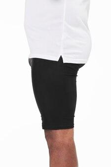 Zwarte strakke korte broek voor heren met kleding aan de zijkant