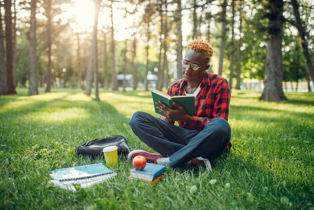Zwarte student die in glazen boek op het gras leest