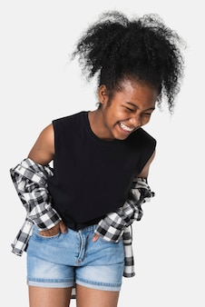Zwarte tanktop voor meisjes met flanellen overhemd