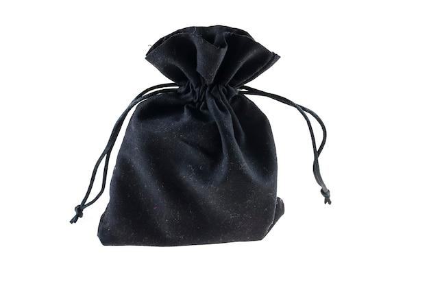 Zwarte tas met trekkoord verpakking op witte achtergrond