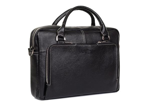 Zwarte tas voor mannen gemaakt van echt leer van dichtbij