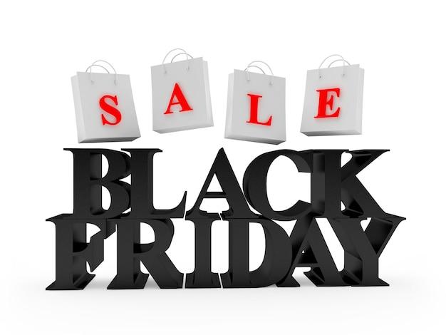 Zwarte tekst black friday en boodschappentassen met woord sale
