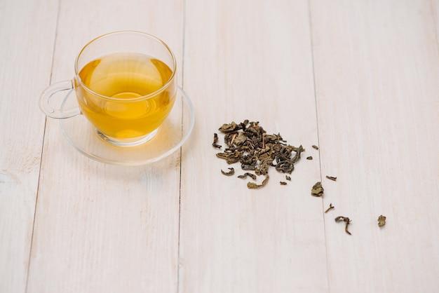 Zwarte thee in een glazen beker en theeblaadjes in houten lepel op witte houten achtergrond.