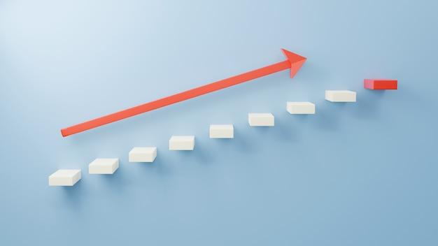 Zwarte trap 3d op blauwe muur eerste stap omhoog met rood pijlsymbool dat omhoog wijst naar het volgende rode succes