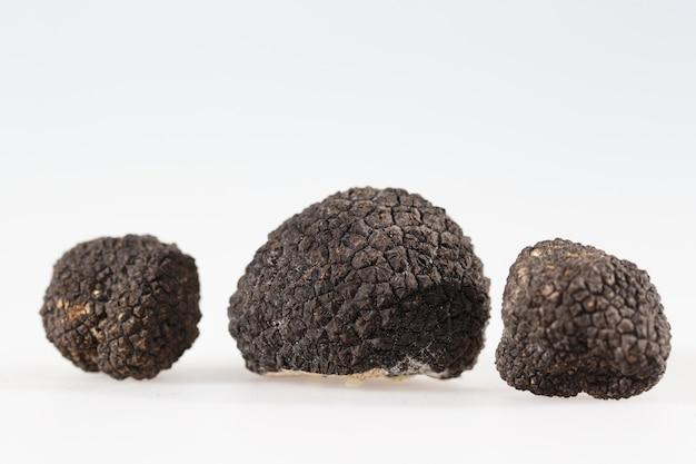 Zwarte truffels geïsoleerd op een witte achtergrond.