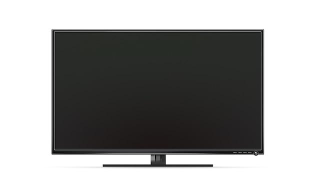 Zwarte tv-flatscreen geïsoleerd, realistische afbeelding tv-scherm mockup-standaard