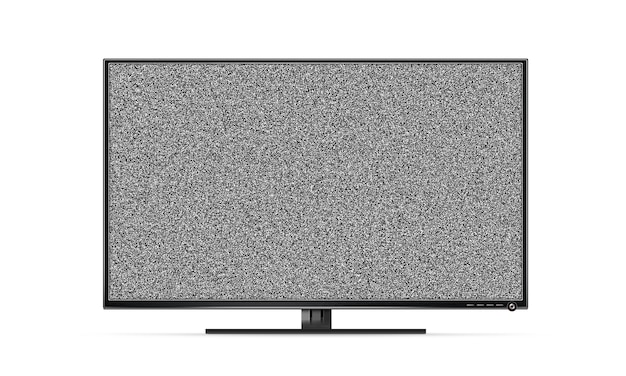 Zwarte tv-flatscreen met geïsoleerde witte ruis