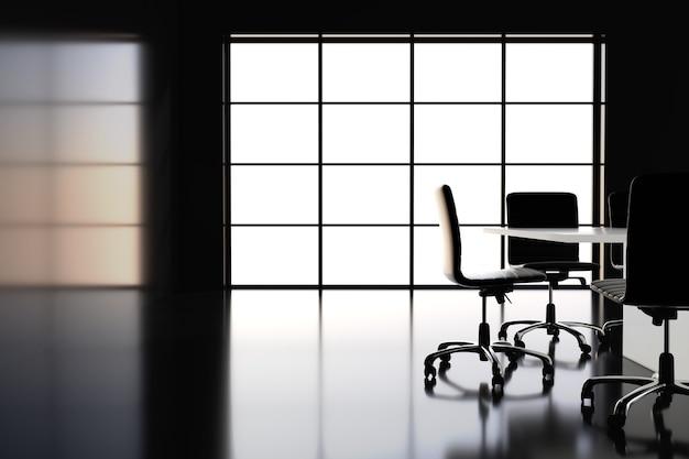 Zwarte vergaderzaal met panoramisch raam. 3d-rendering.