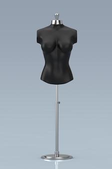 Zwarte vintage tailor women mennequin op een grijze achtergrond. 3d-rendering