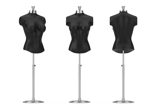 Zwarte vintage tailor women mennequin op een witte achtergrond. 3d-rendering