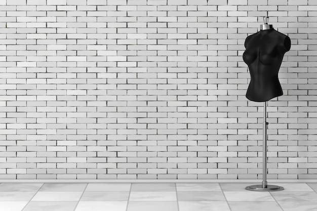 Zwarte vintage tailor women mennequin voor bakstenen muur. 3d-rendering