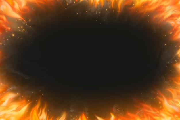Zwarte vlamachtergrond, frame realistisch vuurbeeld