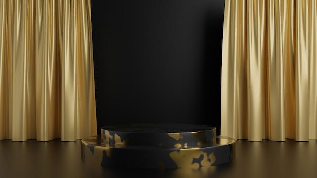 Zwarte voetstukstappen op zwarte achtergrond gouden marmeren toneel met een gordijn abstract minimaal concept lege ruimte schoon ontwerp luxe minimalistisch
