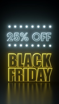 Zwarte vrijdag 25 procent korting op lange das gele en zwarte banner met neonlichten. 3d-rendering illustratie advertentie sjabloon.