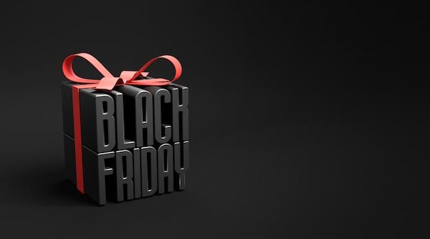 Zwarte vrijdag in geschenkdoos omwikkeld met rood lint