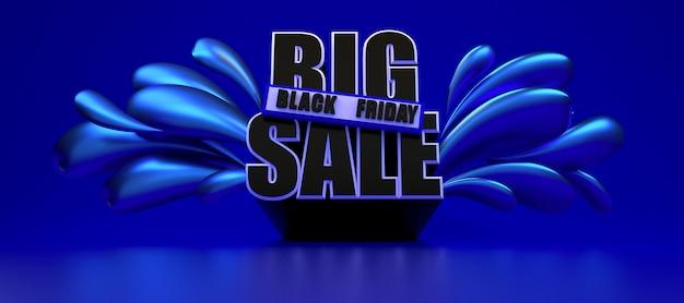 Zwarte vrijdag lange metallic blauwe banner. 3d-rendering illustratie advertentie sjabloon.