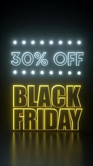 Zwarte vrijdag lange stropdas gele en zwarte banner met neonlichten. 3d-rendering illustratie advertentie sjabloon.