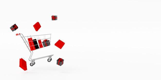 Zwarte vrijdag met winkelwagen vol boodschappentassen
