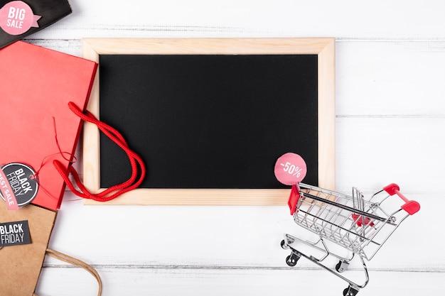 Zwarte vrijdag schoolbord korting bovenaanzicht