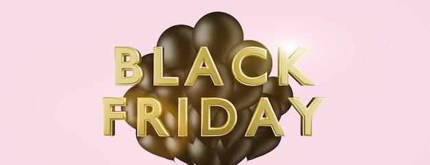 Zwarte vrijdag verkoop banner gouden letters met ballonnen
