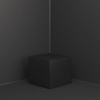 Zwarte vrijdag verkoop box podium display mockup, 3d-rendering