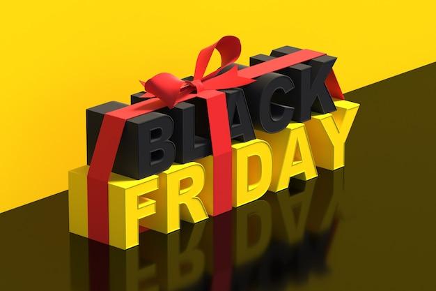 Zwarte vrijdag verkoop concept achtergrond met 3d-rendering