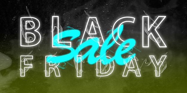 Zwarte vrijdag, verkoopconcept. neon verlichte letters op zwarte achtergrond met kleurovergang. negatieve ruimte om uw tekst in te voegen. modern ontwerp. hedendaagse kunst. creatieve conceptuele en kleurrijke collage.
