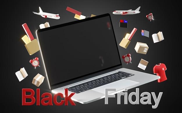 Zwarte vrijdag winkelen met laptop