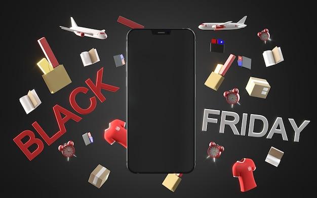 Zwarte vrijdag winkelen met smartphone