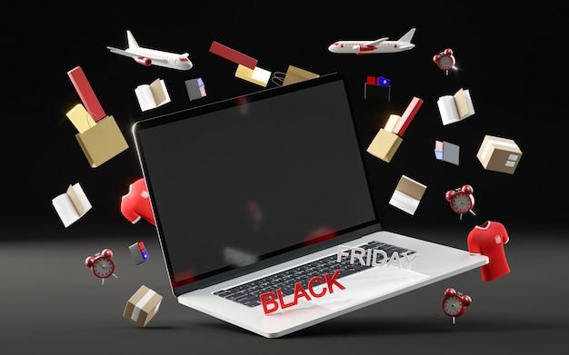 Zwarte vrijdagevenement met laptop