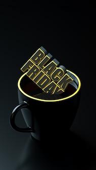 Zwarte vrijdagtekst in gele en zwarte banner van de kop de lange band.