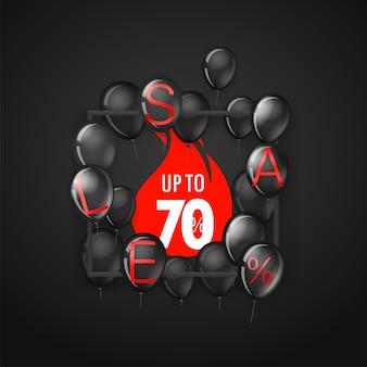 Zwarte vrijdagverkoopbanner met ballonnen tot 70 procent