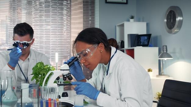 Zwarte vrouwelijke wetenschapper die organisch materiaal onder microscoop bekijkt.