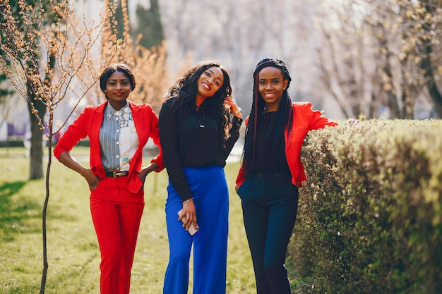 Zwarte vrouwen in een park