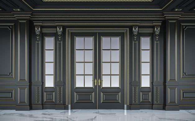 Zwarte wandpanelen in klassieke stijl met vergulding. 3d-rendering