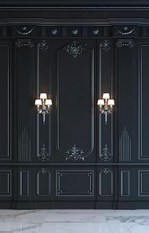 Zwarte wandpanelen in klassieke stijl met verzilvering. 3d-rendering