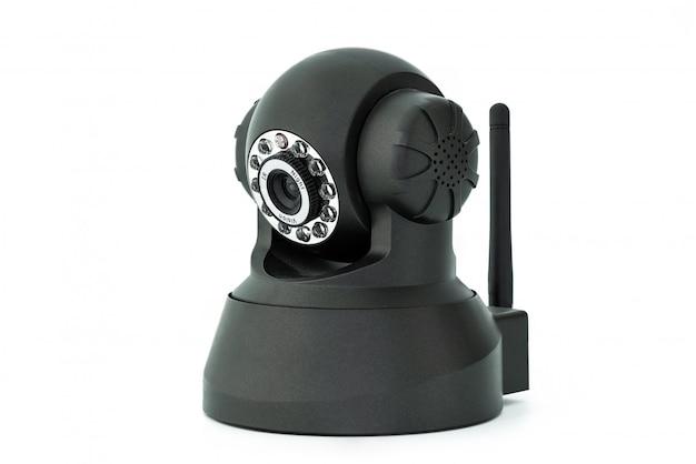 Zwarte webcamera die op witte achtergrond wordt geïsoleerd
