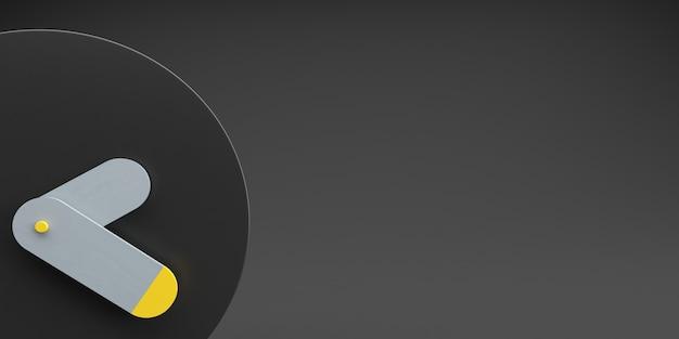 Zwarte wekker met donkere zwarte grijze en gele kleur als achtergrond, gekleurd tijdconcept, minimale samenstelling, stijlvolle abstracte klok, ruimte voor texte en exemplaar. 3d illustratie.